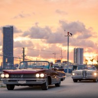 Sunset Drive with Classic Cars