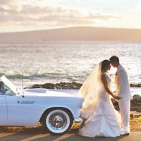 Beach Wedding Antique Car Photo Shoot